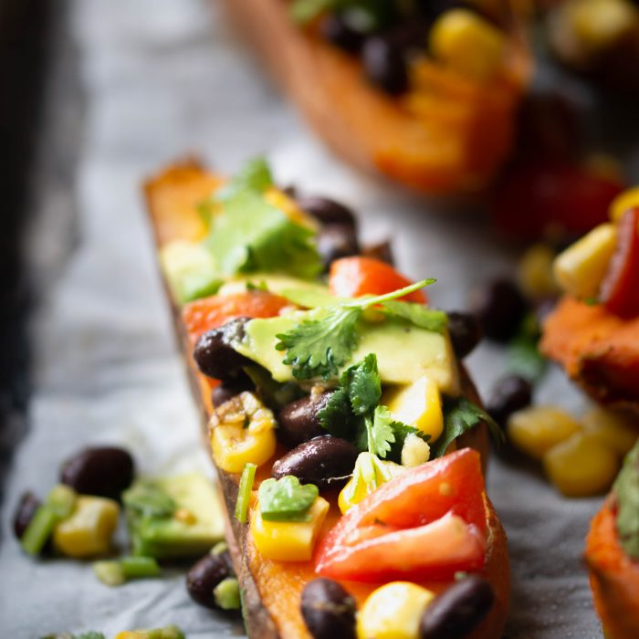 SB – Jacket sweet potato with a black bean and avocado salad